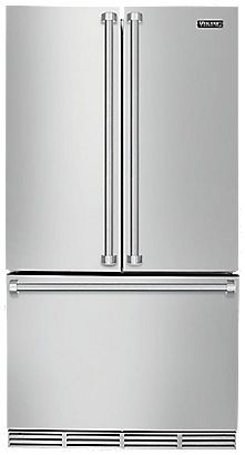 Viking 36 Inch Counter Depth French Door Refrigerator with 22 cu. Capacity, Adjustable Spill Proof Glass Shelves, Adjustable ColdZone Drawer and Premium Air Purification System in Stainless Steel Cabinet Depth Refrigerator, Bottom Freezer Refrigerator, French Door Refrigerator, Vikings, Kitchen And Bath Remodeling, Kitchen Remodel, Tempered Glass Shelves, Electrum, Kitchen