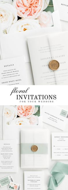 The Savannah wedding invitation suite is paired with Juliette florals.Juliette features white and peach garden roses, silver dollar eucalyptus, and blush spray roses.