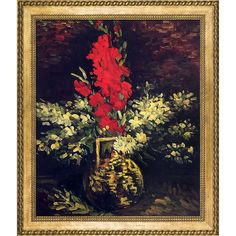 La Pastiche Vincent Van Gogh 'Vase with Gladioli and Carnations' Hand Painted Framed Art