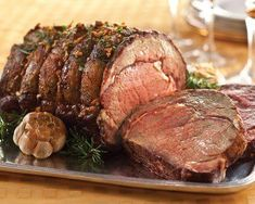 Prime rib is another popular roast served during the holidays. Studded with garlic cloves, this bone-in primal cut from Balducci's is extra vibrant and flavorful.