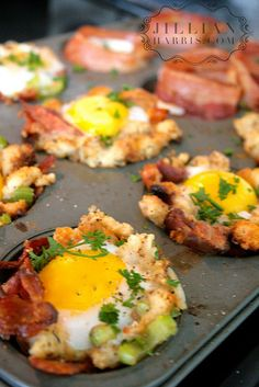 Eggs in a Basket - using left over thanksgiving or christmas or easter stuffing!! YOUUUUMMMMY!