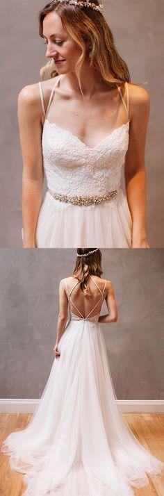 fashion spaghetti straps wedding dress, sexy tulle bridal dress with beading