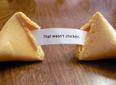 Funny fortune cookie! But sad because it's so true that most meat eaters are uneducated about the cruelty behind the scenes. http://www.huffingtonpost.com/2012/06/27/chinese-dog-meat-market_n_1631208.html