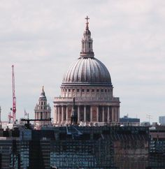 St Pauls Cathedral Dome from Tower Bridge upper deck close up  London UK 2011