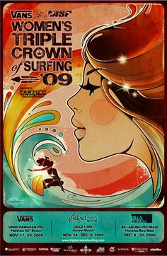 surfing poster. slightly 60's, psychedelia esque!