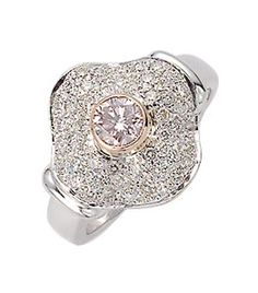 18ct White & Rose Gold Diamond Dress Ring Round brilliant cut Australian pink diamond rubover set in rose gold with surround of pave set round brilliant cut diamonds. Can also be made in platinum, yellow gold or any combination of metals. Suits centre diamond from 0.40ct upward.