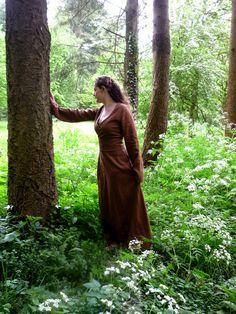 Brown linen Avalon gown with waist band / belt.