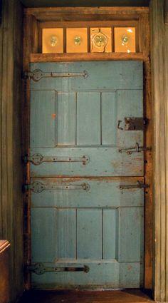 beautiful blue doors, Dutch door and bullseye glass Knobs And Knockers, Door Knobs, Transitional Doors, Transitional Style, Portal, Cool Doors, Decoration Originale, Door Gate, Grand Entrance