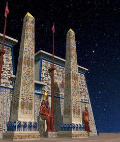 Templo de Karnak como originalmente aparecía pintado de colores identificados de huellas de la pintura original