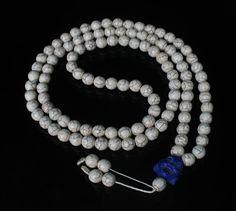 108 Turquoise White Ball & Blue Buddha Beads Buddhist Prayer Mala Necklace 44