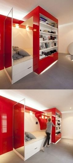 38 Smart Small Bedroom Designs with Hidden Bed. It looks cool, but thinking of the cost makes me nervous. 38 Smart Small Bedroom Designs with Hidden Bed. It looks cool, but thinking of the cost makes me nervous. Awesome Bedrooms, Cool Rooms, Awesome Beds, Dream Rooms, Dream Bedroom, Hidden Bed, Hidden Rooms, Hidden Spaces, Small Bedroom Designs