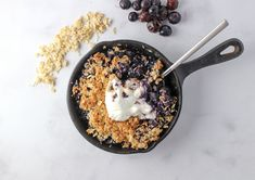 This Low Sugar Berry Coconut Crisp is a great simple and healthy dessert that is low in sugar yet still tastes sweet! Ready in less than 30 minutes!