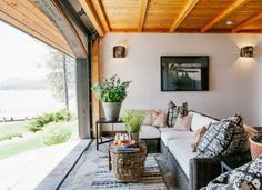 Rustic outdoor decorating ideas and remodel inspiration, including unique landscapes, pools, porches, and patios to create your own mountain style Rustic Sunroom, Rustic Outdoor, Outdoor Decor, Sunroom Ideas, Outdoor Rooms, Indoor Outdoor, Outdoor Living, Garage To Living Space, Garage Remodel
