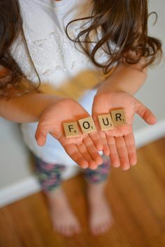 Four year old birthday photography. Toddler girl photos. Scrabble letters. Nikon 35mm