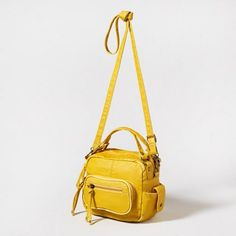 Sunny yellow makes for a bright #backtoschool season! Try this Faux Leather Crossbody Bag