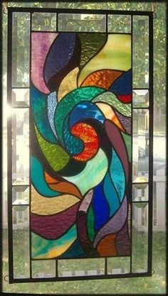 A Whirlpool of Color Stained Glass Window Panel by lynne