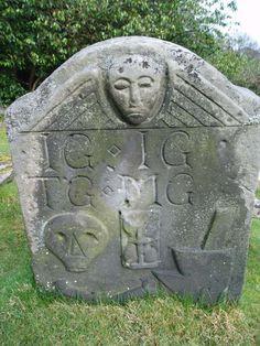 Scottish stone; death's head echoed in New England gravestones.