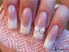 top 25 fantastic french Nails Art DesignsFrench manicures ar a well-liked trend among girls in America nowadays. And for glorious reason – the French manicure is extremely universal, and is just as acceptable for jeans and t-shirts because it may be Vintage Wedding Nails, Pink Wedding Nails, Wedding Manicure, Wedding Nails For Bride, French Nails, Nagel Hacks, Bride Nails, Best Nail Art Designs, Acrylic Nail Art