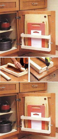DIY Kitchen Board Rack is creative inspiration for us. Get more photo about home. - DIY Kitchen Board Rack is creative inspiration for us. Get more photo about home decor related with - Diy Kitchen Storage, Kitchen Hacks, Kitchen Organization, Organization Hacks, Organizing Ideas, Kitchen Upgrades, Organising, Kitchen Remodeling, Kitchen Stuff