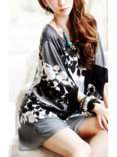 Graphic Rose Long Sleeve Shirt Dress