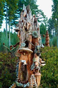 Elaborate Fairy House for the Garden! - Fairy garden zone / Fairy Townhouse do this with the tree stump behind the gazebo Fairy Tree Houses, Fairy Garden Houses, Gnome Garden, Garden Crafts, Garden Art, Garden Design, Magic Garden, Fairy Furniture, Gnome House