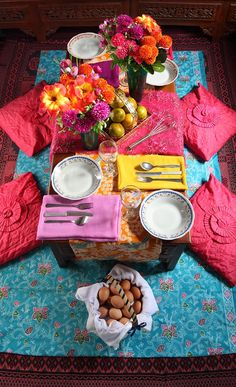 Bright Indian table setting for the perfect Hundred-Foot Journey Movie Party – In Theaters This Friday! #100FootJourney #color