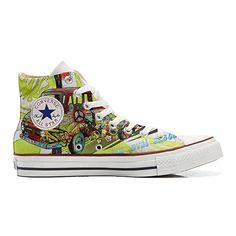 4430f08b8470 CONVERSE personalizzate All Star Sneaker unisex (Prodotto Artigianale)  Peace and Love  Amazon.it  Scarpe e borse