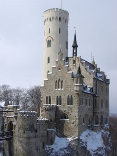 Lichtenstein Castle-Like many of the castles and fortresses in Germany, Lichtenstein Castle was built on the ruins of a ruined castle dating back to the 1200s. It sits on top of a cliff in the Swabian Alb Mountain range, and just like Neuschwanstein Castle, it looks like it belongs in a fairytale.