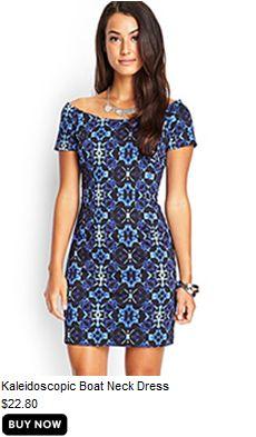 Kaleidoscope boat neck dress #f21