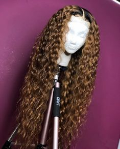 Curly Full Lace Wig with Baby Hair Ombre Color Human Hair Lace Front Wigs Pre-Plucked Hairline - Full Lace Wigs - Human Hair Lace Wigs My Hairstyle, Wig Hairstyles, Frontal Hairstyles, Casual Hairstyles, Medium Hairstyles, Black Hairstyles, Curly Hair Styles, Natural Hair Styles, Natural Hair Weaves