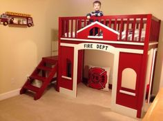 fire station loft bed with a play space underneath