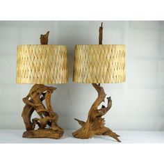 Image of 1950's Driftwood Lamps Woven Palm Leaf Shades