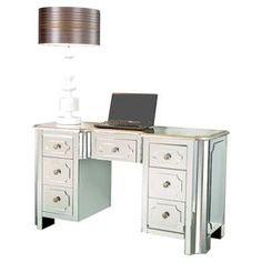Mirrored glass desk.  Product: DeskConstruction Material: Mirrored glassColor: SilverDimensions: 30 H x 54 W x 21 D