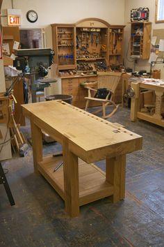 french oak bench w wooden wagon vise