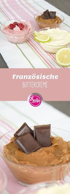 Französische Buttercreme / Sallys Basics The French butter cream is a varied butter cream that is also very suitable for fondant cakes. It can be modified as a fruit butter cream, chocolate butt Delicious Cake Recipes, Yummy Cakes, Dessert Recipes, Fondant Tips, Frosting Tips, Fondant Recipes, Fondant Tutorial, Fondant Wedding Cakes, Fondant Cakes
