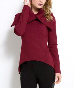 Look what I found on #zulily! Raspberry Button-Collar Sidetail Sweater by Natalia Romano #zulilyfinds
