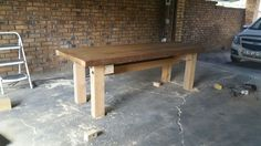 My latest project, using 60 year old oregon pine for the table top and 250mm x 200mm pine beams for the stand.