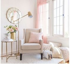Romantic Shabby chic chair and room with pale pink accents- Target