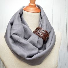 Linen Infinity Scarf. Chunky Scarf. Natural Linen. by LinenLea, $29.00