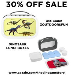 30% Off our Dinosaur Lunch Boxes. Use Code: ZOUTDOORSFUN http://www.zazzle.com/thedinosaurstore/lunch?q=lunch #dinosaur #sale #gifts
