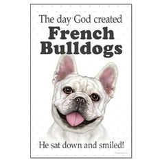 Cream French Bulldog: God Smiled design on www.doggination.com