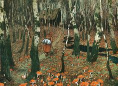 Thru the woods the olde witch hobbled on looking for the Magic Mushroom.