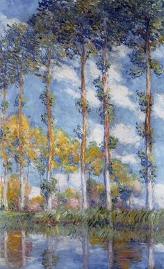 """ART FOR YOUR MORNING Claude Monet (French, 1840-1926): """"Poplars, 1891"""" Oil on canvas, 116.2 x 72.2 cm (45-3/4 x 28-1/2 inches). NOTE: Private Collection."""