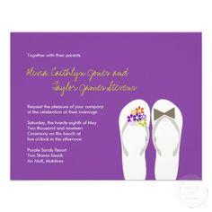 d1bffe18c84a57 Mr   Mrs Purple Flip Flops Beach Wedding Invite