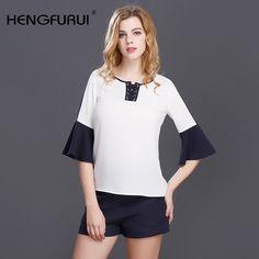 2017 new women's fashion T-shirt seven Sleeves Chiffon slim shirt