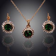 Moda 2014 nova temperamento Upscale Semicircular brincos de cristal austríaco colar conjuntos de jóias para as mulheres 18 K banhado a ouro