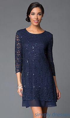 Jump Short Prom Dresses, Homecoming, Junior Dresses - Shop Tiana B three quarter sleeve short lace dresses at SimplyDresses. Short sequin lace scoop neck dresses for receptions or holiday parties. Tiana B Dresses, Plus Dresses, Casual Dresses, Short Dresses, Fashion Dresses, Dresses With Sleeves, Lace Dresses, Formal Dresses, Formal Prom