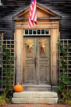 Items similar to Fall Autumn Doorway Door Harvest Rustic Decor Pumpkin Orange Thanksgiving Halloween October Indian Corn, Fine Art Print on Etsy House Front Door, Front Door Decor, Front Doors, Old Doors, Windows And Doors, Porches, When One Door Closes, Unique Doors, Fall Diy