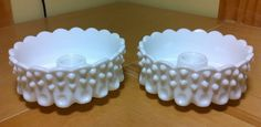 Set 2 Fenton White Milk Glass Hobnail Candle Holders Bowl Candlesticks Taper