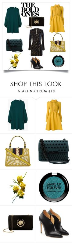 """""""Bold Party Dresses"""" by thesilmongroup ❤ liked on Polyvore featuring MANGO, Valentino, Gucci, Foley + Corinna, MAKE UP FOR EVER, Balmain, Versus and Chloe Gosselin"""